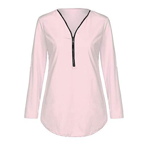iYmitz Tops Automne Hiver Femmes T-Shirt décontracté pour Femme T-Shirt à col en V pour Femmes(Light Rose,M)