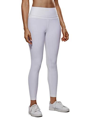 CRZ YOGA Donna Vita Alta Yoga Fitness Spandex Palestra Pantaloni Sportivi 7/8 Leggins con Tasche-63cm Bianco-R009 L(46)