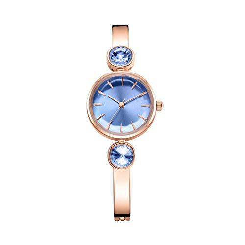 Fashion Watch Creative Damenuhr Atmospheric Trend Quarzuhr Double Diamond Watch Multi-Color Optional (Farbe : Golden Blue Plate)