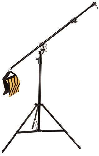 Bresser Fotostudio Galgenstativ mit Arm BR-BLS210 mit Luftfederungssystem, schwarzer Pulverbeschichtung und Spigot Adapter zur Verwendung von Fotostudiozubehör