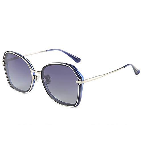LXC Sonnenbrille, Damen polarisierte Gläser 2019 Neue Fashion Big Box Round Face koreanische Farbe Film Sonnenbrillen Frauen,c