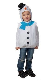 Schneemannkostüm Kostüm Schneemann für Kinder Kinderkostüm weißer Schnee Mann Winter mit Kapuze Gr. (Weißes Kind Schnee Kostüme)