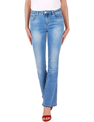 Fraternel Damen Jeans Hose Bootcut normal Waist Stretch Hellblau S / 36 - Low Rise Flare Stretch Jeans