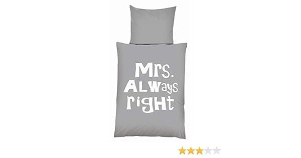 80x80 cm oder Mrs Microfaser Bettwäsche Mr Always Right Garnitur Set 135x200