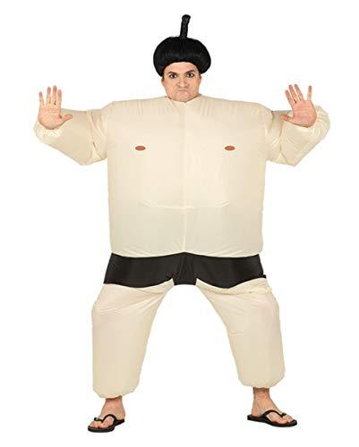 Ringer Zum Kostüm Sumo - Horror-Shop Beiges Sumo Ringer Kostüm zum Aufblasen für Fasching One Size