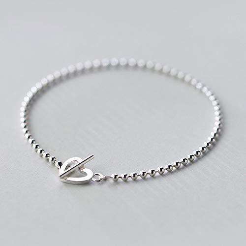 lonfenner Armbanduhr,925 Solide Echten Sterling Silber Mode Perlen Herz Verstellbare Schnalle Kette Armband Für Jugendlich Mädchen Dame Geschenk Frauen Schmuck