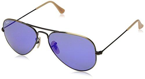 Ray Ban Unisex Sonnenbrille Aviator Mehrfarbig (Gestell: Bronze/Kupfer, Gläser: blau verspiegelt 167/68)), Large (Herstellergröße: 55)