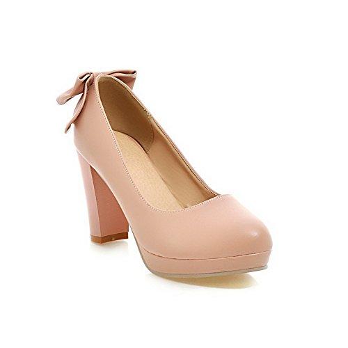 VogueZone009 Damen Ziehen Auf Hoher Absatz Pu Leder Rein Rund Zehe Pumps Schuhe Pink