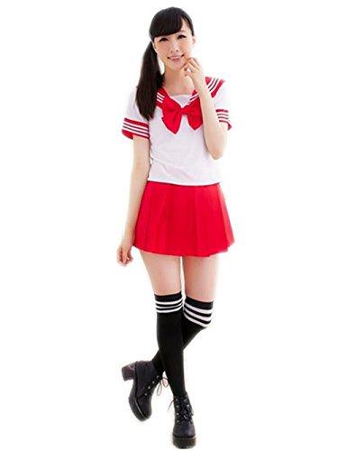 Japanisch Mädchen Schule Uniform Matrose Kleider Anime Cosplay Lolita Sexy Kleid (M, red)