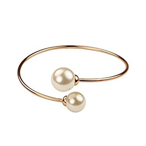 Double Pearl Rose Gold Plated Designer Fashion Open Bangle Bracelet