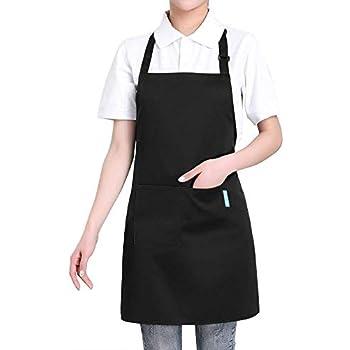 esonmus Adulti Poliestere Cucina Grembiule Ristorante Barbecue con Cintura Regolabile Collo 2 Tasche per Cucinare Cottura Giardinaggio per Uomo Donna