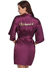 9daae2762c10 Vlazom Bride Bridesmaid Robes Satin Bridal Party Robe Dressing Gown