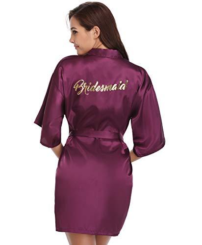 be kurzer Kimono für die Braut & Bridesmaid Hochzeit Roben mit Gold Glitter oder Strass Medium Dark Purple for Bridesmaid ()
