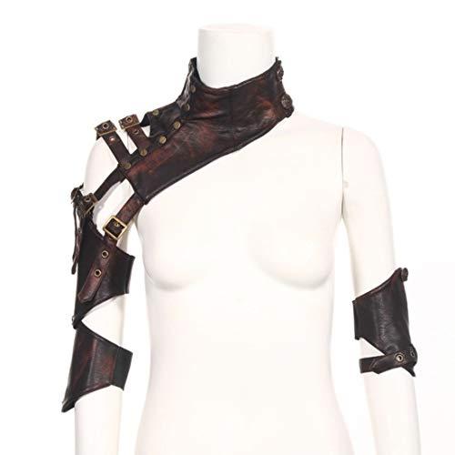 Ploekgda Steampunk Retro Leder Arm Scheide Rüstung Kostüm Korsett Shrug Schal Cape Wraps Top Jacke mit Schulterpanzer Schnallen (Size : - Kostüm Mit Leder Jacken
