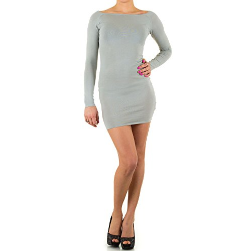 Kleid Damen Elastisches Minikleid Grau ONE SIZE (Kurze Falten Ärmel Einheitliche)