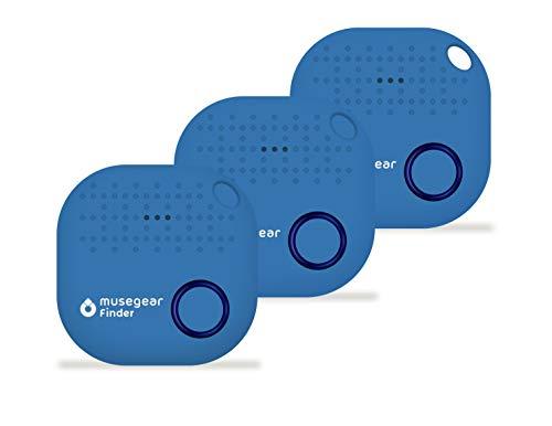 musegear® Schlüsselfinder mit Bluetooth App I 3er Pack I Version 2 I Keyfinder laut für Handy in hellblau I GPS Ortung/Kopplung I Schlüssel Finden