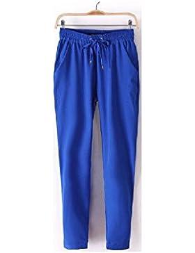 SYGoodBUY Pantalones de Mujer Cintura Elástica Pantalones Chic de Gran Tamaño Harlan Long Work Fluid Summer