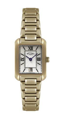 Rotary LB02652/41 - Reloj analógico de cuarzo para mujer, correa de acero inoxidable chapado color dorado