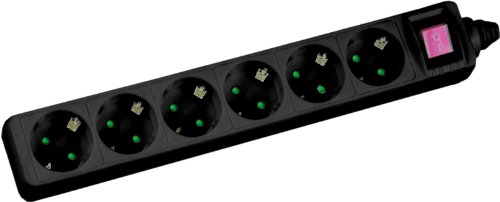 230v 6 Outlet (InLine 16461S 6AC Outlet (S) 230V 1.5M Schwarz–Steckdosenleiste, 6Steckdosen AC, 3500W, 1,5m, schwarz, aus Kunststoff))