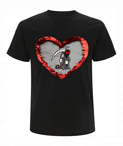 T-Shirt Wende Pailletten Tod- Halloween- Skelett- UNTOTE- Zombie- Monster- BÖSE- Gothic- Horror- GRUSELIG in Schwarz - Rot | 104-5XL