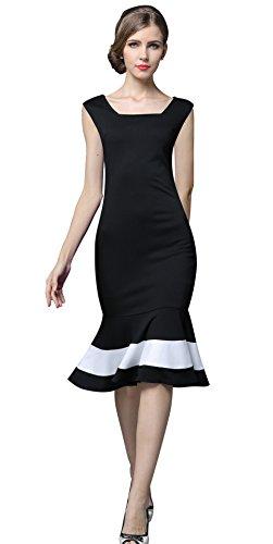 YACUN Damen Elegant Sommer Kleid Meerjungfrau Halb Arm Wickelkleid Cocktailkleid Schwarz Gr.EU 36-44 Black2