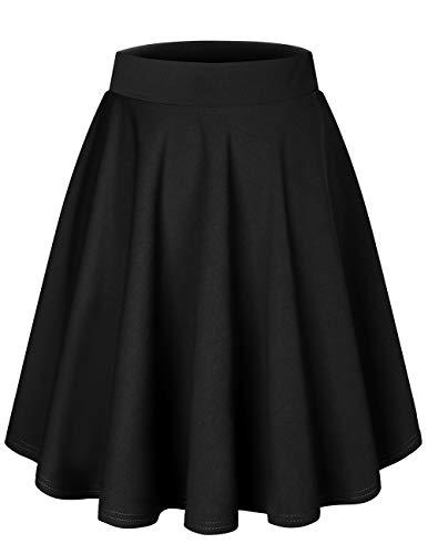 Dresstells Damen Basic Solide Vielseitige Dehnbar Informell Mini Glocken Rock Black-Midi L -