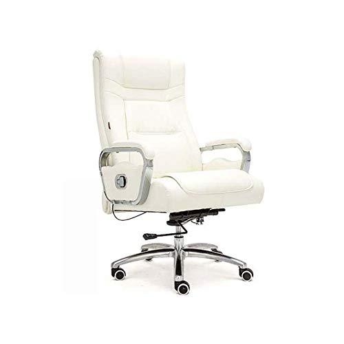 FZYQY Bürodrehstuhl, Executive Rückenlehne Stuhl aus PU Leder, Gebeugter Rücken, Einstellbare Sitzhöhe, 360 °Drehung (Weiß) -