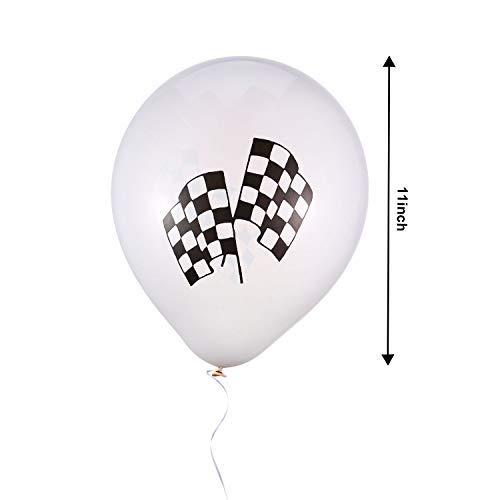 Lvcky 100Pack Karierte Flagge Zahnstocher 1Pack kariert Banner 12Stück kariert Flagge Latex Luftballons Set für Geburtstag Auto Mottoparty