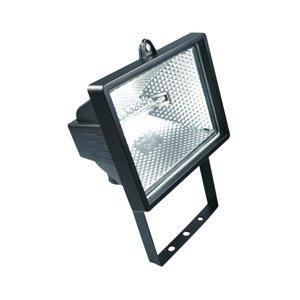 HALOTEC Foco Proyector halógeno con soporte de montaje para exterior (IP54, 400 W) color negro