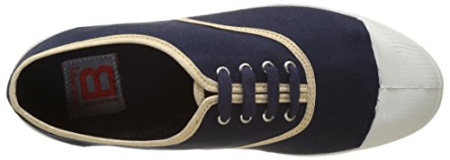 Bensimon Tennis Lacet Shinypiping, Baskets Basses Femme Bleu (Marine)