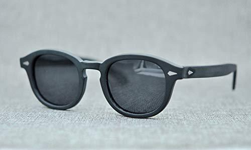 LKVNHP New Hochwertige Unisex Acetat Sonnenbrille Männer Frauen Polarisierte Kleine Johnny Depp Sonnenbrille Vintage Schwarz Retro SonnenbrilleMattschwarz