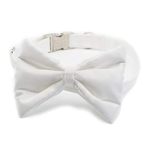 doguna Hundehalsband aus Satin mit Hundefliege Hochzeit, Fliege für Hunde - Halsschleife - Premium (mit Metallverschluss) (XL, Weiß)