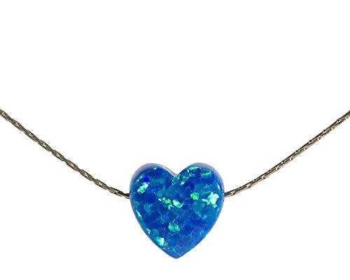Royal Blue Opal Heart Halskette Sterling Silber Draht-Kabel Länge 41cm / 16inch + 5cm Extender -