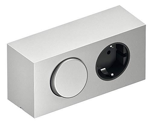 Gedotec Steckdosen-Element Energiebox Spiegelschrank mit Schuko-Steckdose und Schalter | Anbausystem 230 V | Kunststoff silber | 1 Stück -