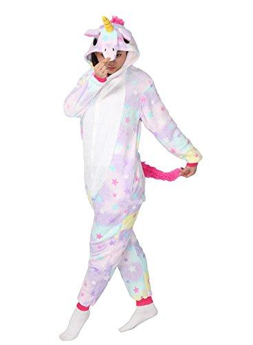 Unicorno Kigurumi Pigiama Adulto Halloween Anime Cosplay Costume Tuta Unisex (XL, stella)