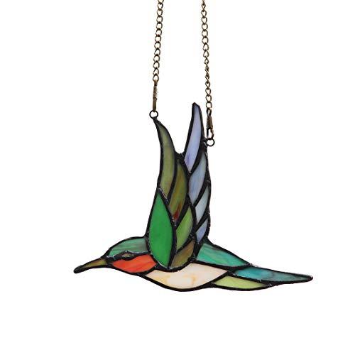 makenier Tiffany-Stil gebeizt Glas Kolibri Fenster Aufhängen Sun Catcher
