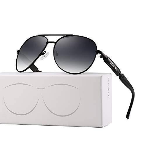 Polarisiert Sonnenbrille für Damen Männer Metallrahmen Verspiegeltes Objektiv Fahrende Mode 8 Farben 7295 (Schwarz)