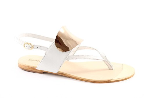 GEMMA 286-20 white sandali donna bianco infradito pelle cuoio 40