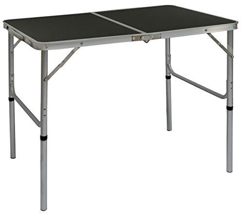Amanka tavolino da pic-nic 90x60x70cm tavolo da campeggio in alluminio altezza regolabile pieghevole formato valigia grigio scuro