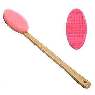XGLL Bad-Körper-Bürste Mit 2 Bürstenkopf Eichen-Langer Handgriff Silikon-Massage-Bad-Körper-Bürsten-Duschen-Rückseitenwäscher-Rückseiten-Bürste,Pink