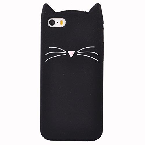 iPhone 5 5G 5S SE Coque, Voguecase TPU avec Absorption de Choc, Etui Silicone Souple Transparent, Légère / Ajustement Parfait Coque Shell Housse Cover pour Apple iPhone 5 5G 5S SE (Kitten-Noir)+ Gratu Kitten-Noir