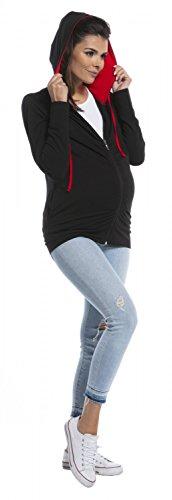 Zeta Ville - Damen Umstandsmoden Sweatshirt Kapuze Langen Ärmeln- 263c Black & Red