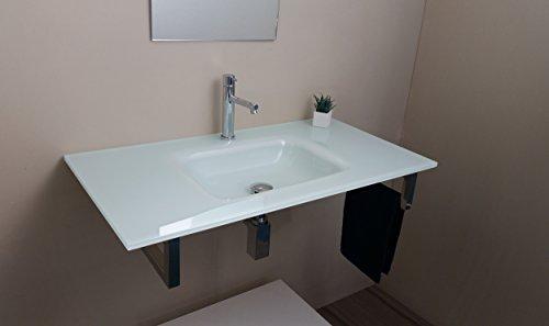 Möbel Glas Waschbecken im Badezimmer Extra Cm 90 mit Unterstützung aus rostfreiem