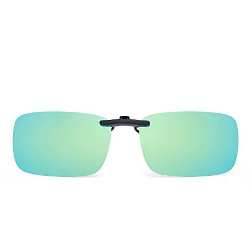 JM Randlos Rechteck Clip auf Sonnenbrille Leicht Gewichts Polarisiert Brillen Damen Herren(Polarisiertes Gelbgrün) (Nachtsicht Clip-on-brille)