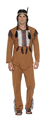 Smiffys 45509L - Herren Indianer Kämpfer Kostüm, Oberteil, Hose und Haarband, Größe: L, braun