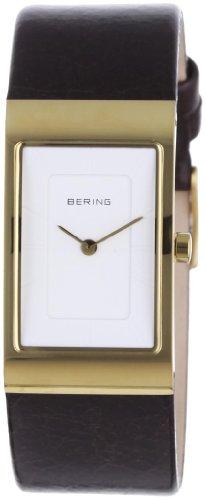 Bering Classic - Reloj analógico de mujer de cuarzo con correa de piel marrón - sumergible a 50 metros