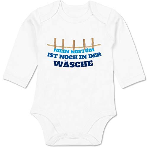 Shirtracer Karneval und Fasching Baby - Mein Kostüm ist noch in der Wäsche Wäscheleine blau - 6-12 Monate - Weiß - BZ30 - Baby Body Langarm (Gruppe Der Sechs Kostüm)