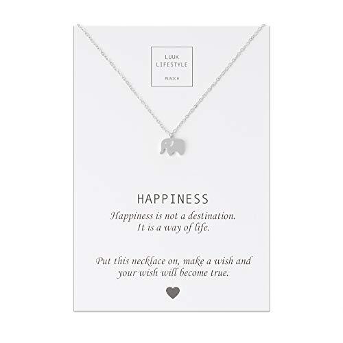 LUUK LIFESTYLE Edelstahl Halskette mit Elefanten Anhänger und Happiness Spruchkarte, Glücksbringer, Damen Schmuck, silber