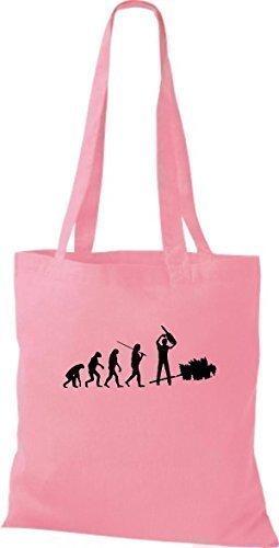 ShirtInStyle Stoffbeutel Jute Evolution Holzfäller Waldarbeiter diverse Farbe rosa