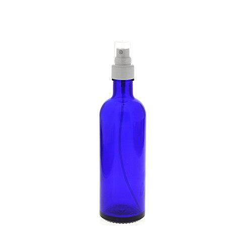 Blauer Glas Flakon, 200ml Blauglasflasche mit weißen Zerstäuber, leere Kosmetex Sprühflasche, Glas-Flasche, 200 ml Blau Glas